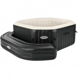 PureSpa Bancada hinchable octogonal color negro INTEX 28510  | PiscinasDesmontable