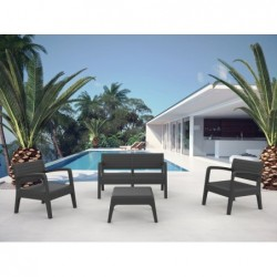 Muebles de Jardín Set Modelo Miami Antracita SP Berner 55393 | PiscinasDesmontable