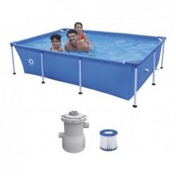 Piscina Desmontable con Depuradora 1136 L. Jilong 17805EU Steel Super Rectangular Pool 258x179x66 cm.