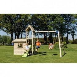Parque Infantil Lookout Con Columpio Doble Y Casita Masgames Ma811801