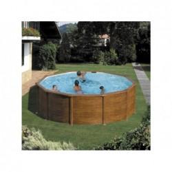 Piscina redonda imita madera pacific. 460 x 120 cm | PiscinasDesmontable