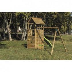 Parque Infantil Con Caseta Y Columpio Doble Canigo Masgames Ma700205