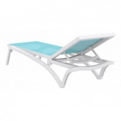 Tumbona Costa Turquesa y Blanca de 35x193x68 cm. | PiscinasDesmontable